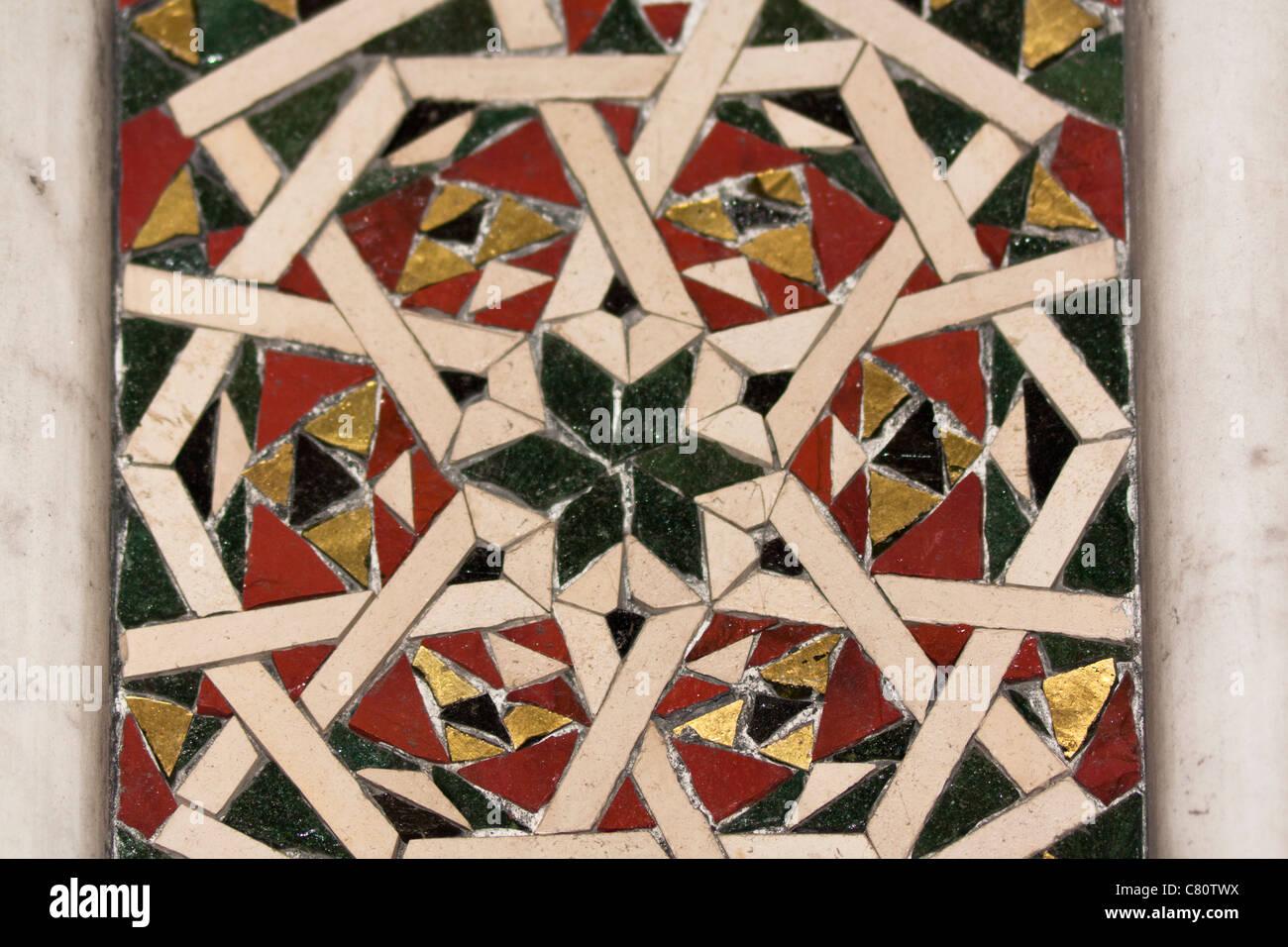 Inlaid mosaic inside Monreale Cathedral, Monreale, near Palermo, Sicily, Italy - Stock Image