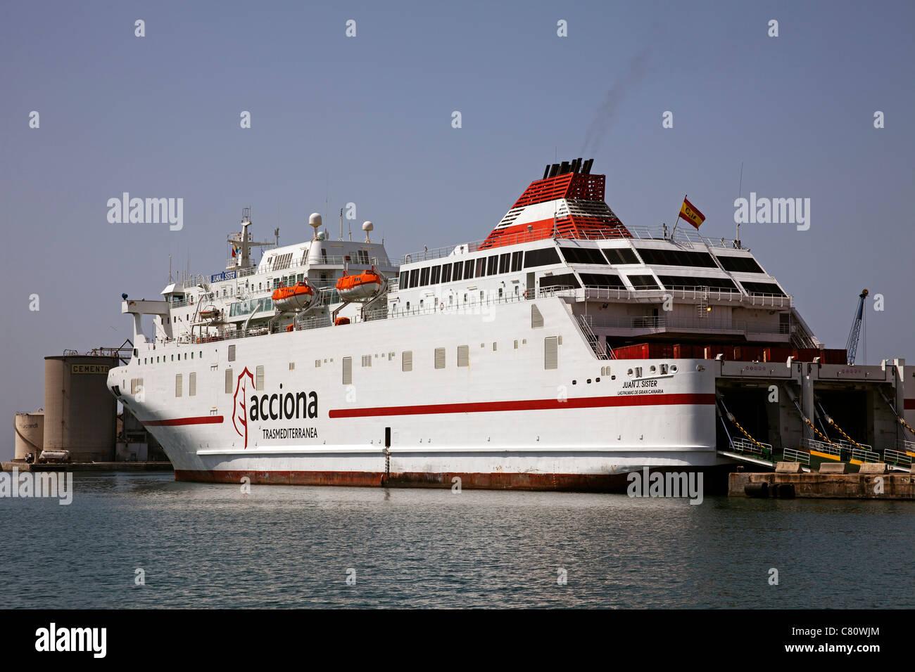 Passenger ship at the port of Malaga Costa del Sol Andalusia Spain - Stock Image