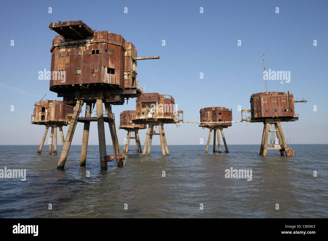 Maunsell sea forts. Red sands sea forts Thames estuary. They are now abandoned. - Stock Image