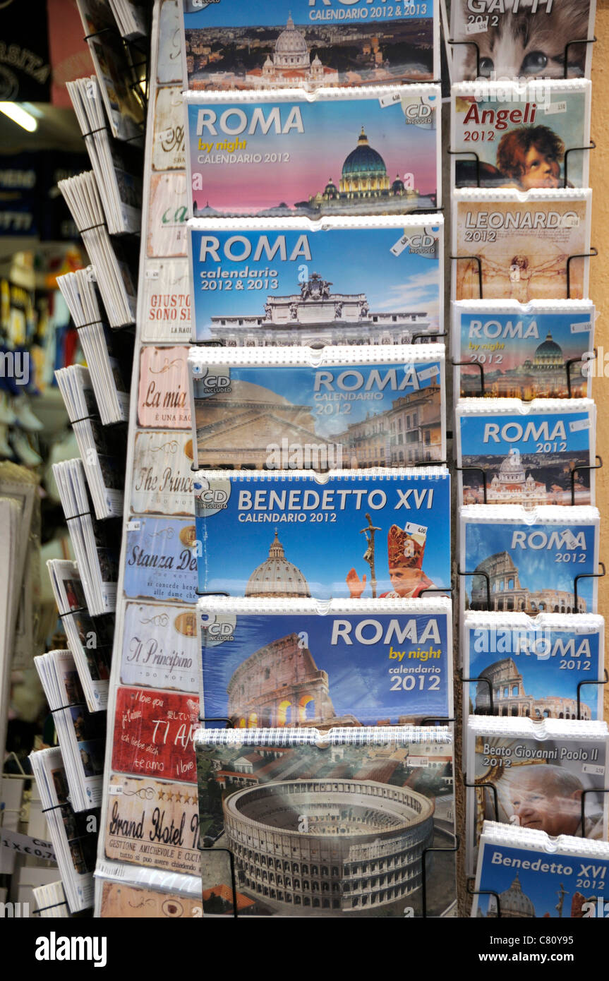 Postcards in a rack, Rome, Italy, Europe - Stock Image