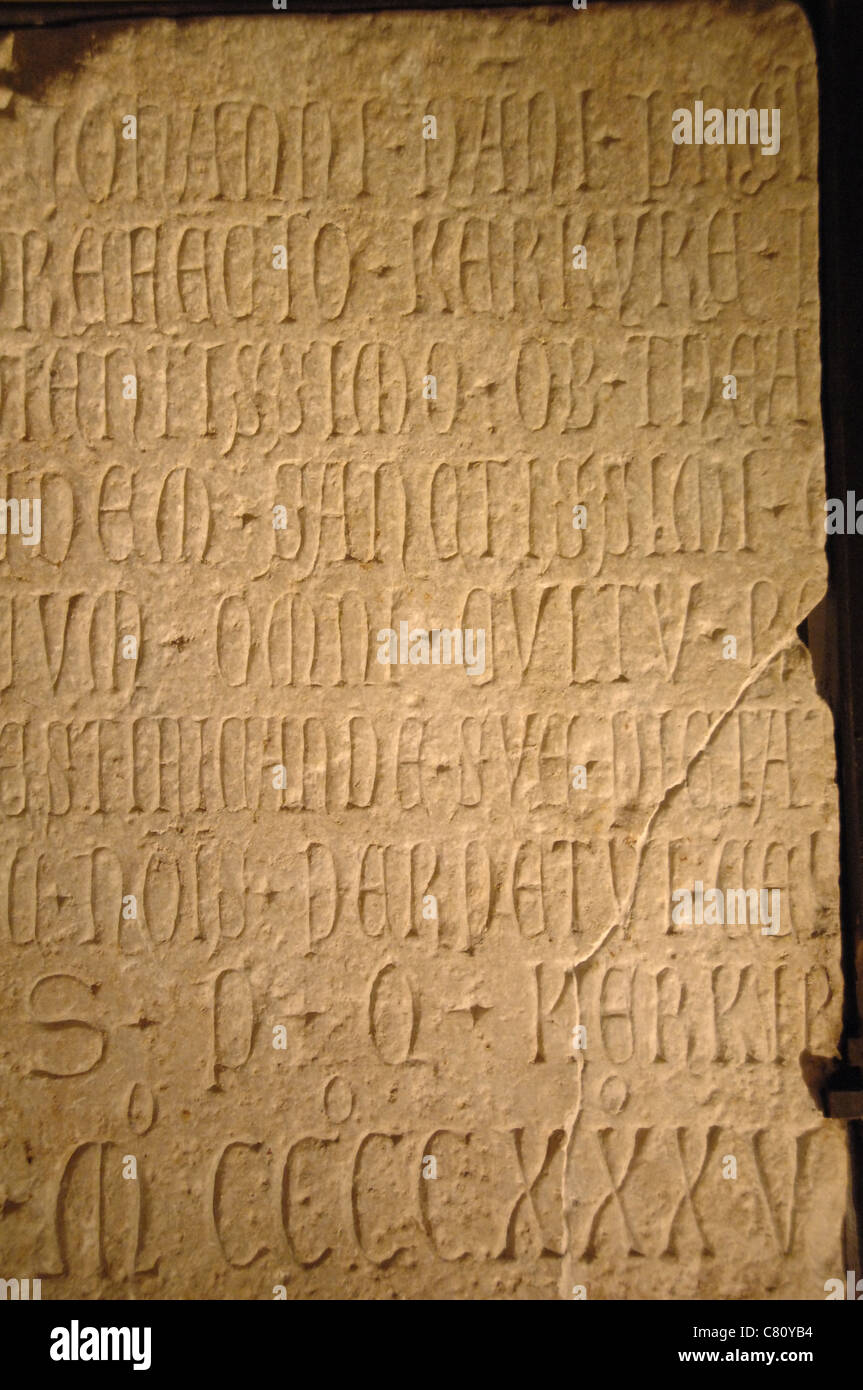 Latin inscription commemorating Giovanni Nani, Consul for Corfu, 1435. Old Fortress Museum. Corfu. Ionian Islands. - Stock Image