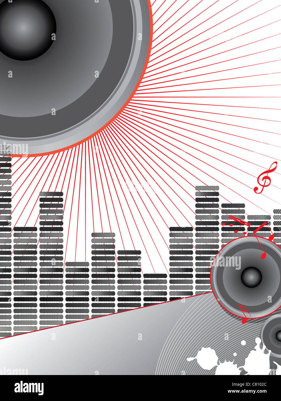 musical theme with loudspeakers and music notes Stock Photo