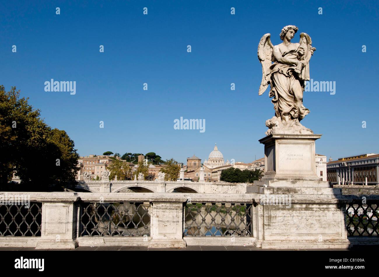 Bernini Statue on the Ponte Sant Angelo, River Tiber, Rome, Italy - Stock Image