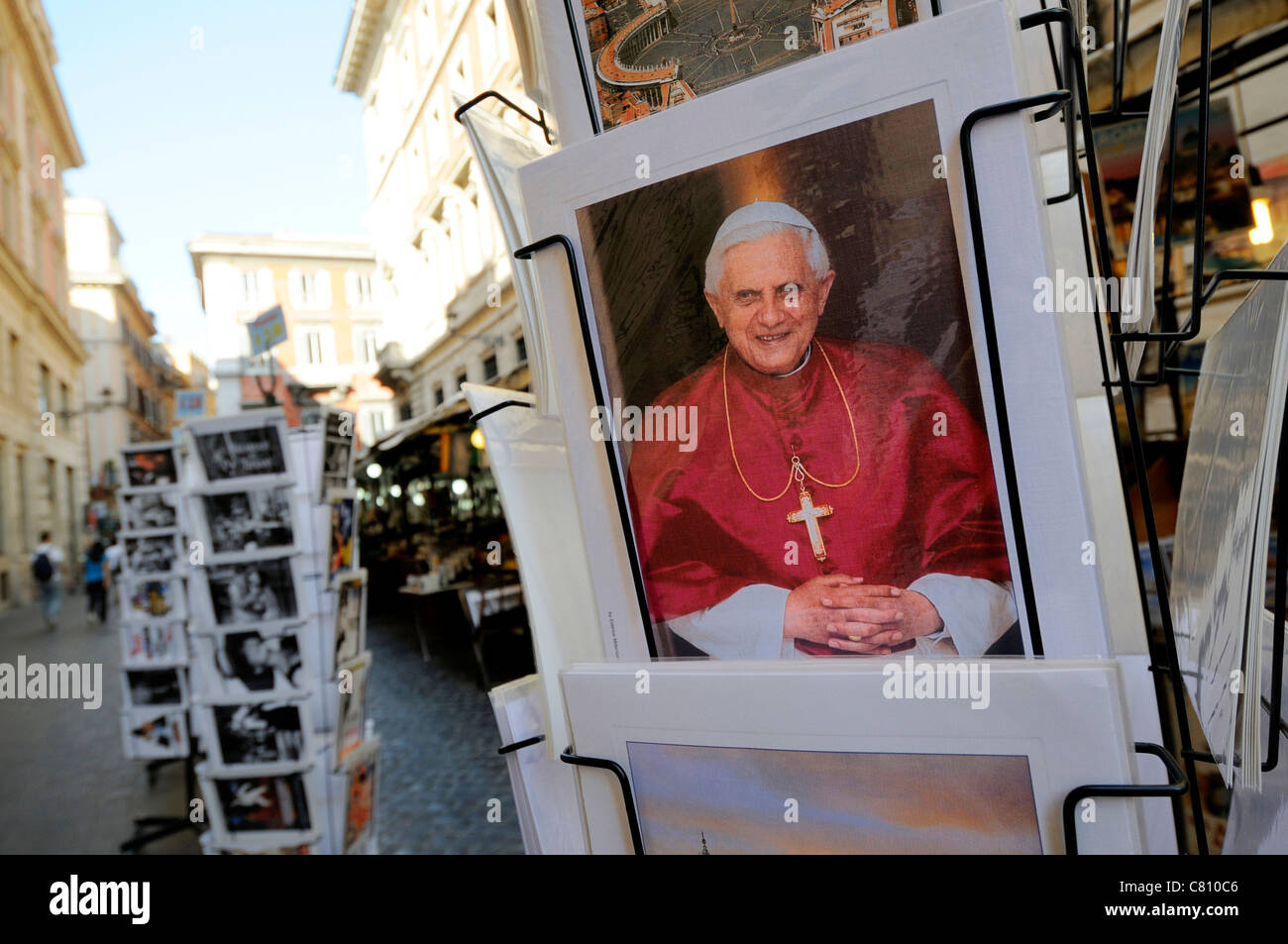Pope Benedict XVI postcard in a rack, Rome, Italy, Europe - Stock Image