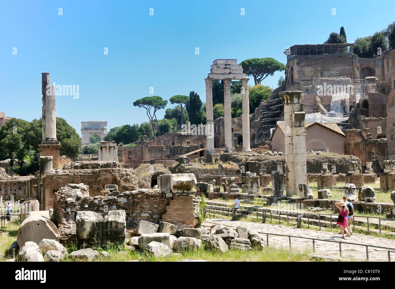 Ancient Rome : Via Sacra, Roman Forum, Rome, Italy, Europe - Stock Image