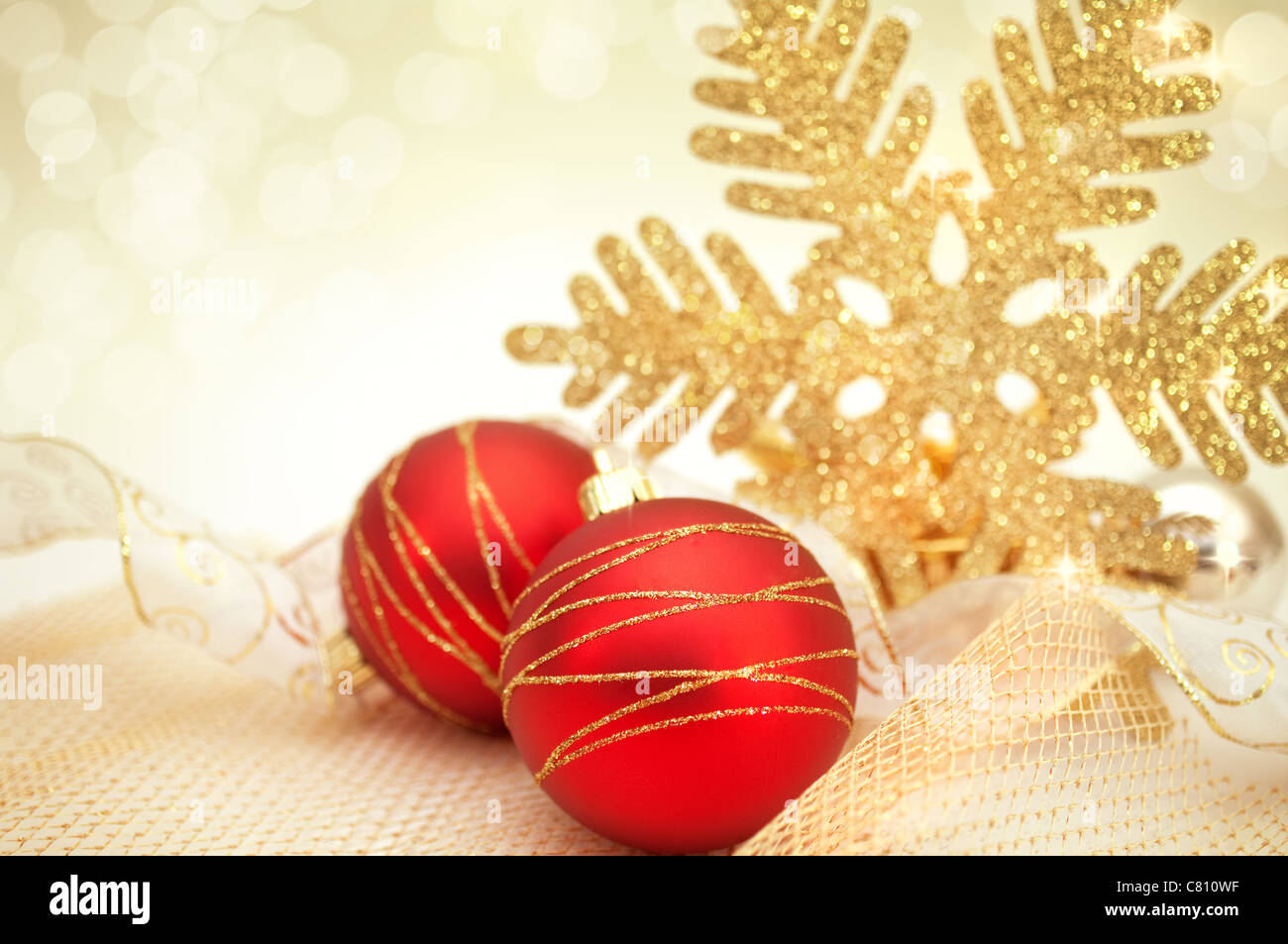 Beautiful Christmas Background.Beautiful Christmas Background With Decoration In Gold And