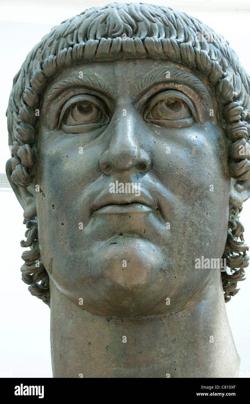 Colossal bronze head of Constantine. Capitoline museum.. Rome . Italy - Stock Image