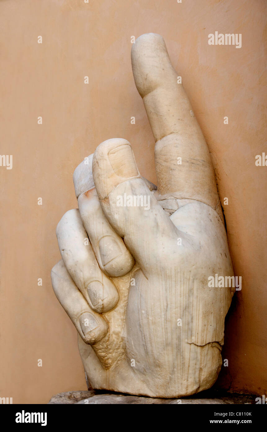 Hand with pointing index finger, statue of Constantine, Palazzo dei Conservatori, Capitoline Museums, Rome, Italy, Stock Photo