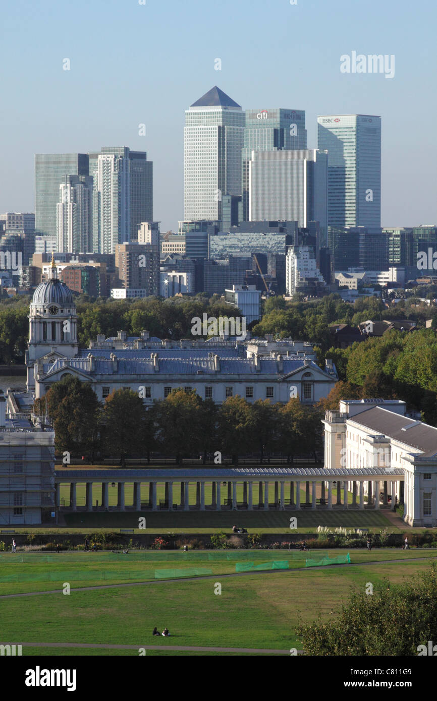 National Maritime Museum Greenwich and Docklands skyline London - Stock Image