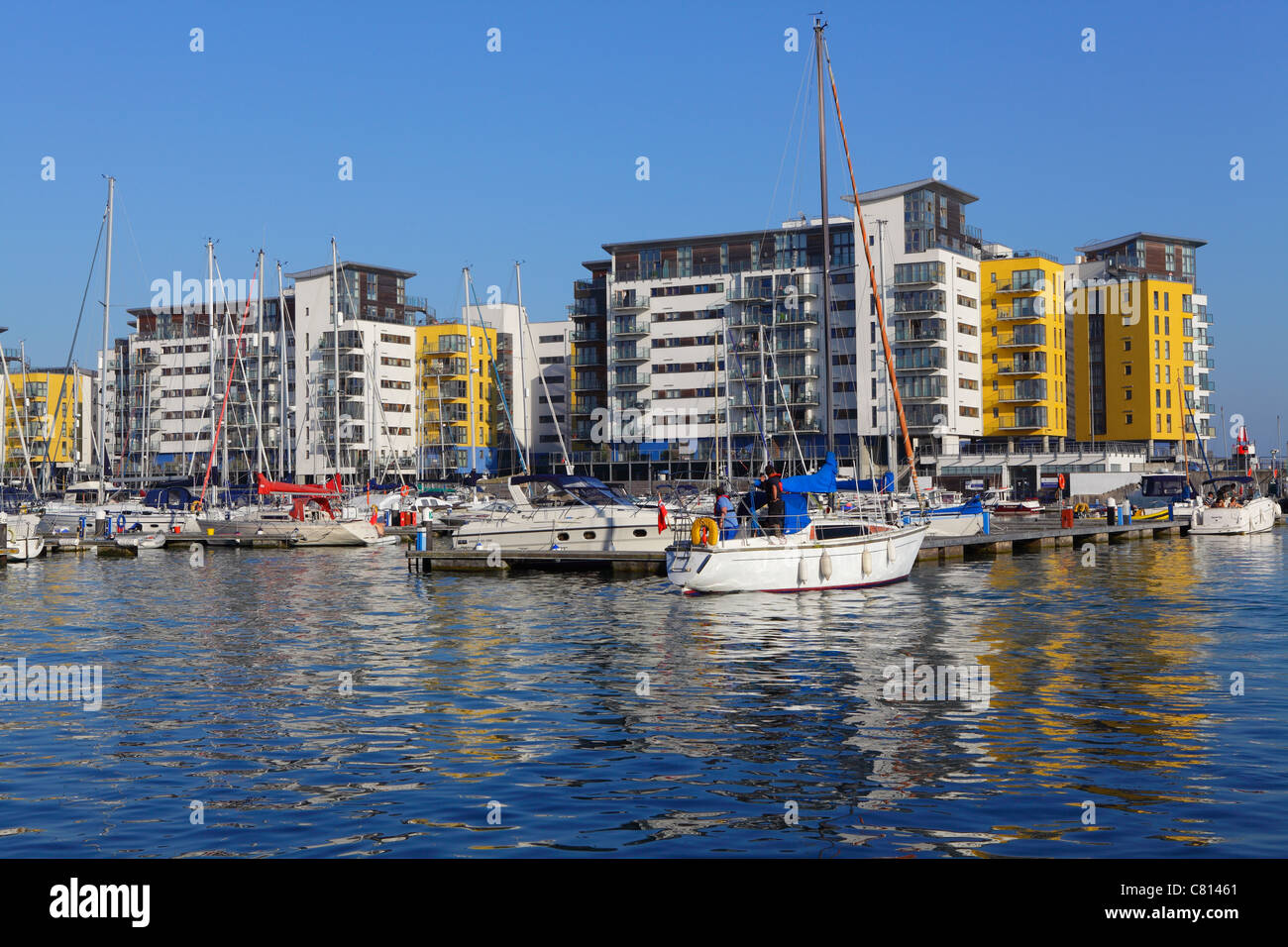 Apartments overlooking Sovereign Harbour Marina Eastbourne East Sussex UK GB - Stock Image