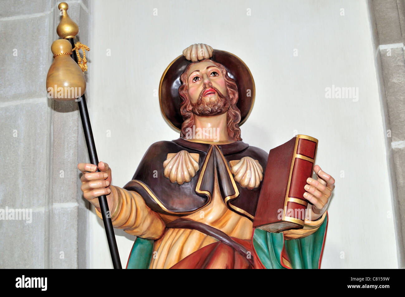 Spain, St. James Way: Sculpture of Saint James in the Basilica of Monastery San Xulian de Samos Stock Photo
