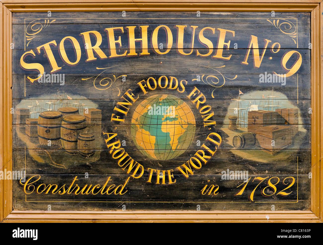 Sign for Storehouse No 9 i in Portsmouth Historic Dockyard, Portsmouth, Hampshire, England, UK - Stock Image