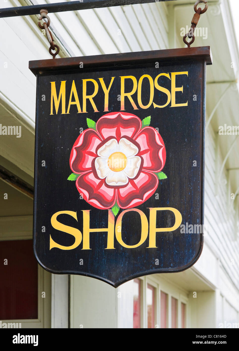 Sign forthe Mary Rose museum shop in Portsmouth Historic Dockyard, Portsmouth, Hampshire, England, UK - Stock Image