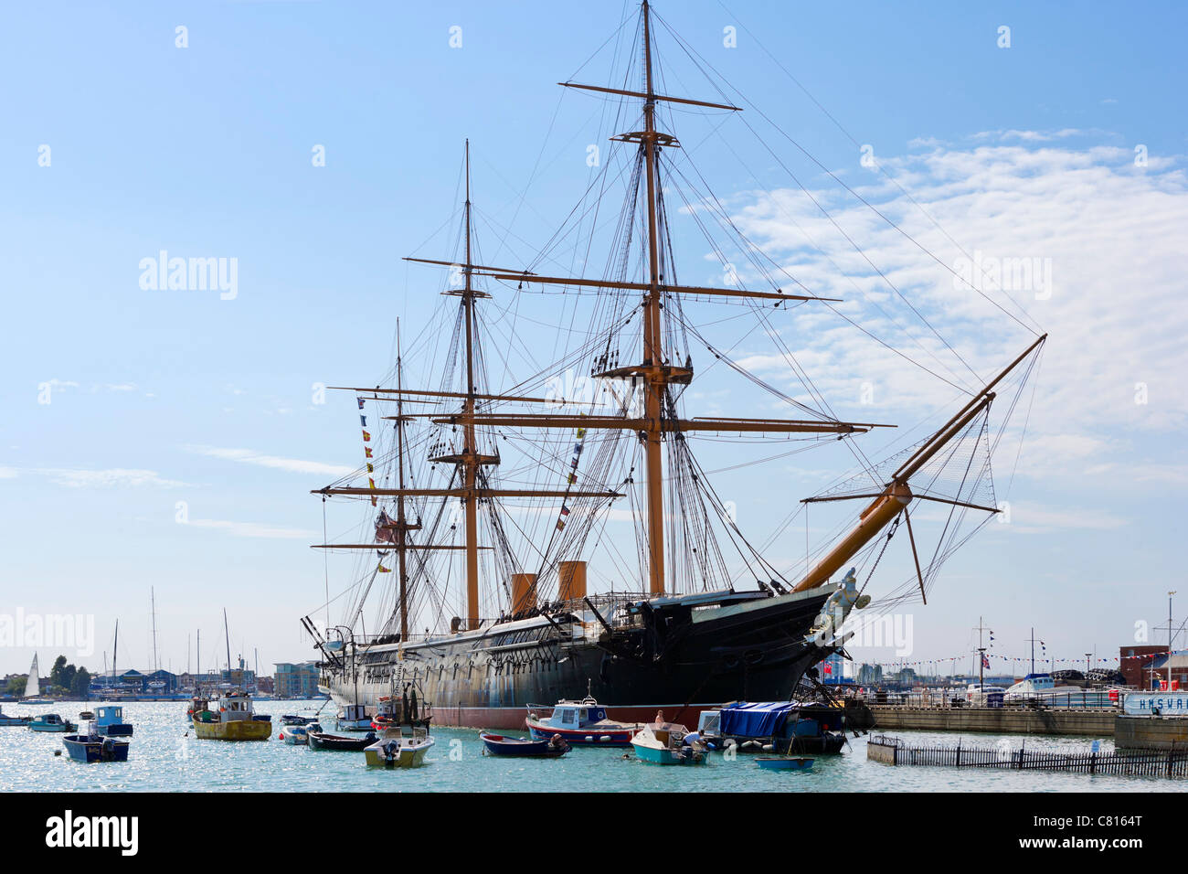 HMS Warrior (the first iron-hulled steam/sail warship in 1860), Portsmouth Historic Dockyard, Portsmouth, Hampshire, - Stock Image