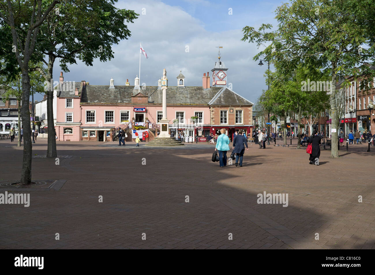 Carlisle English Street, Market Square and Old Town Hall - Stock Image