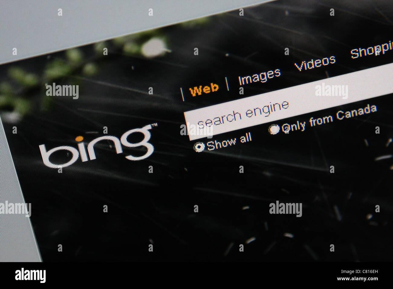 bing microsoft search engine screenshot - Stock Image