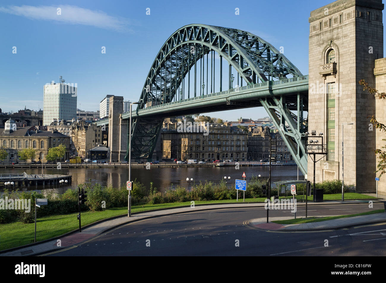Newcastle Quayside and the Tyne Bridge viewed from the Gateshead side of the river. - Stock Image