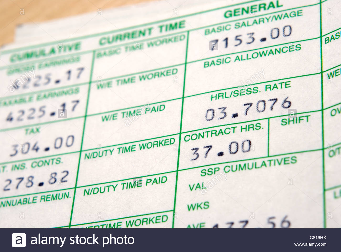 UK wage slip. Tax and national insurance deductions. - Stock Image
