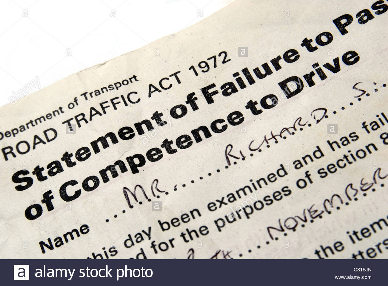 UK Statement of Failure to Pass Test of Competence to Drive. (Anno 1986) - Stock Image
