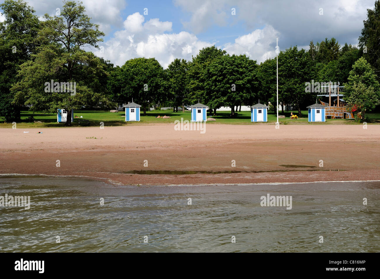 Plagen, the town beach of Loviisa town, is an idyllic and quiet beach with plenty of room to have a picnic and go - Stock Image