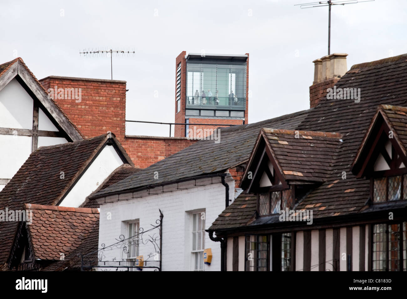 Visitors to the Royal Shakespeare Theatre in Stratford-Upon-Avon, UK, at the top of the tower built in 2011. - Stock Image