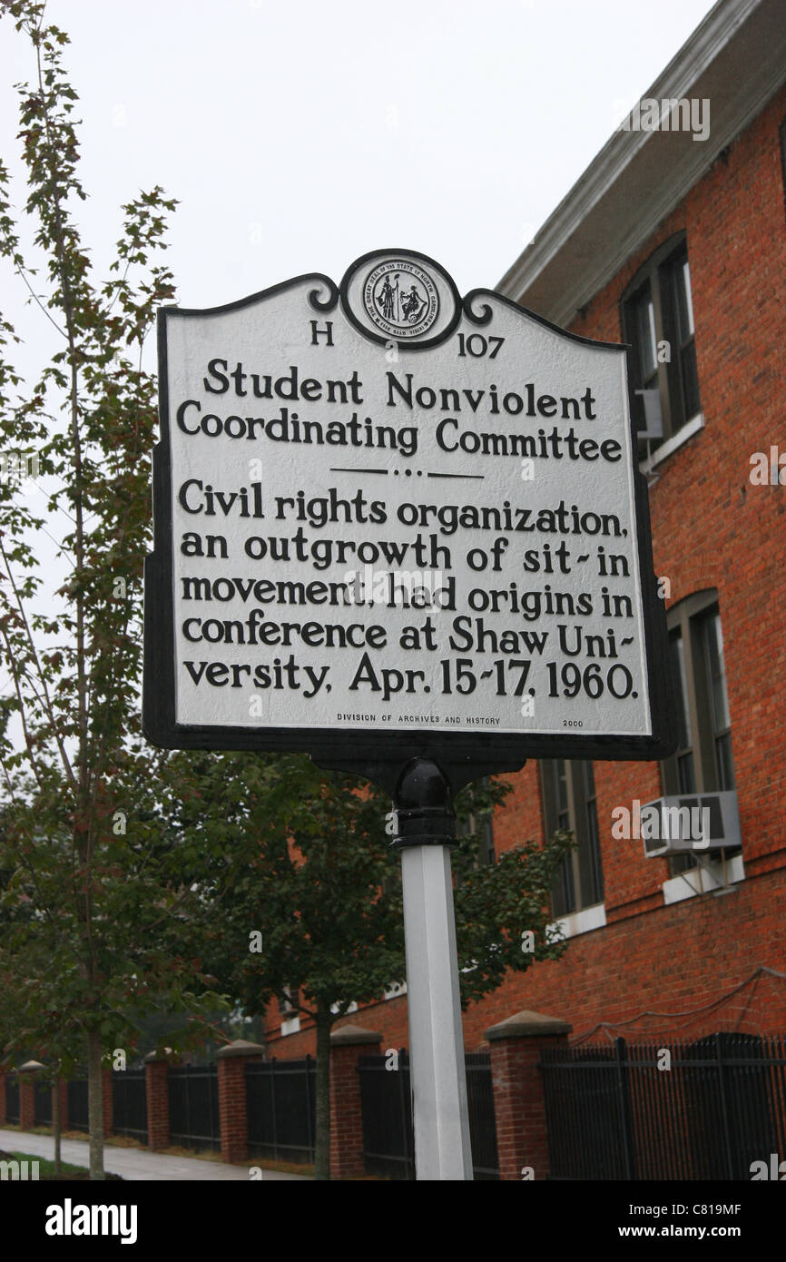 Student Nonviolent Coordinating Committee Civil rights organization, an outgrowth of sit-in movement, had origins - Stock Image