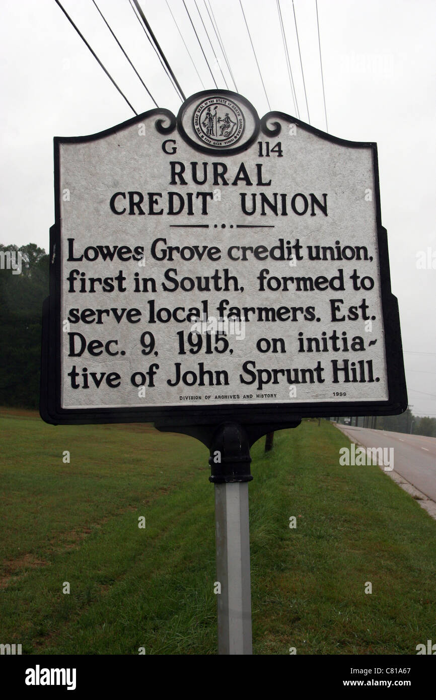 G114 RURAL CREDIT UNION Lowes Grove credit union, first in South, formed to serve local farmers. Est. Dec. 9, 1915, - Stock Image