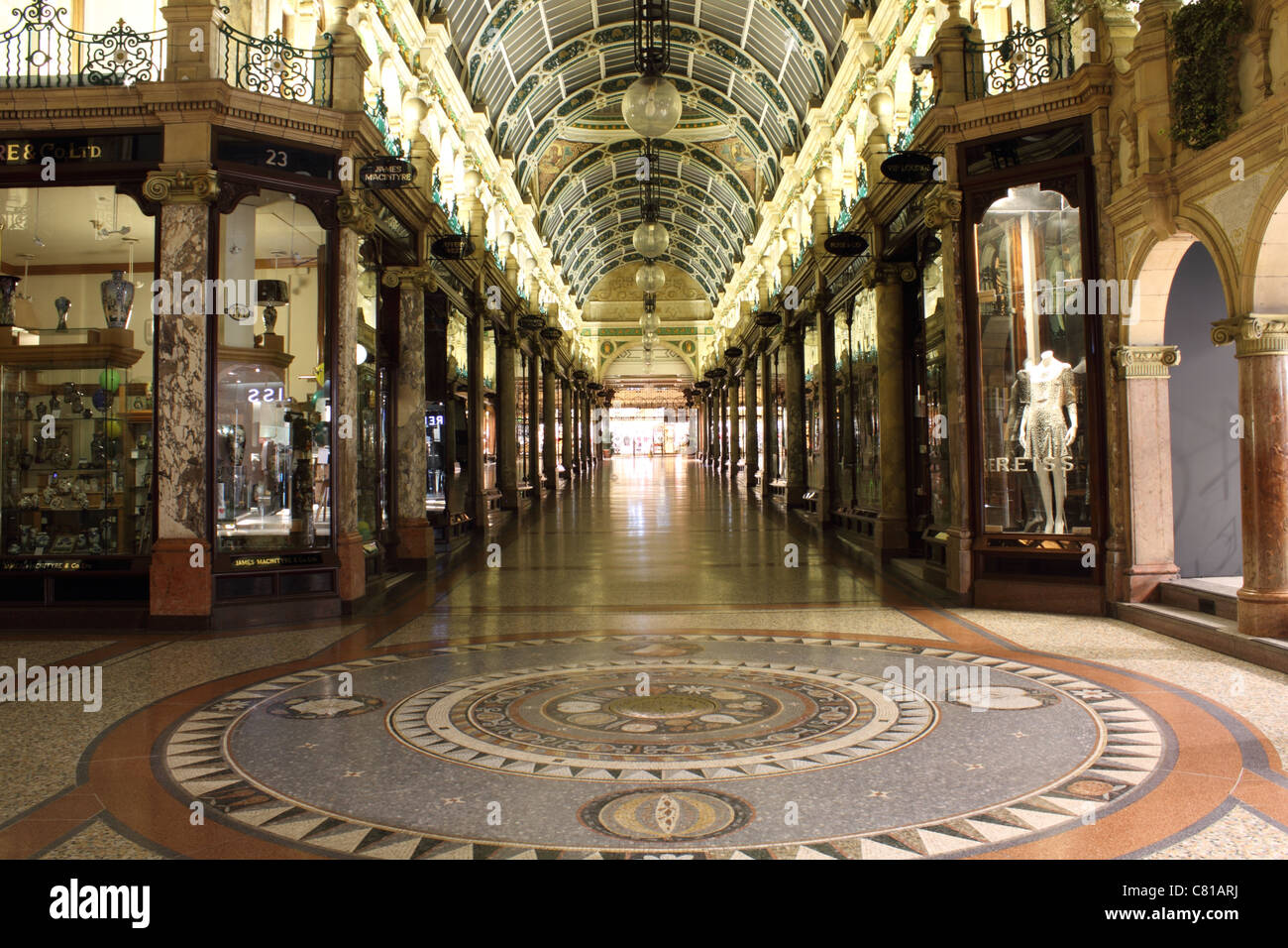 victoria arcade Leeds no people shopping arcade - Stock Image