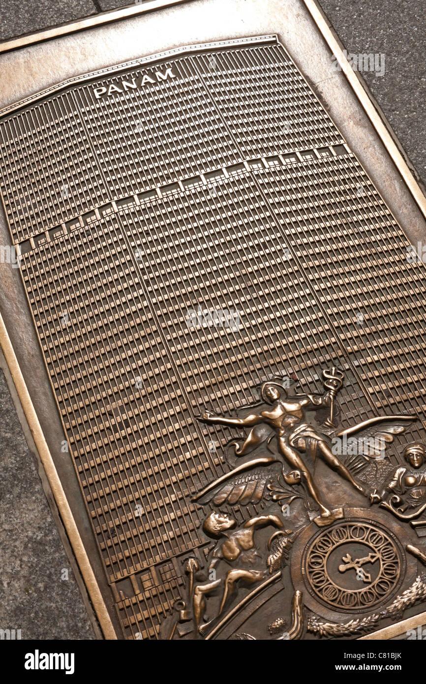 101 Park Avenue Sidewalk Brass Plaque, The Pan Am Building, NYC - Stock Image