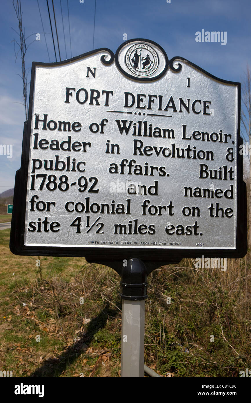N1 FORT DEFIANCE Home of William Lenoir, leader in Revolution & public affairs. named for colonial fort - Stock Image