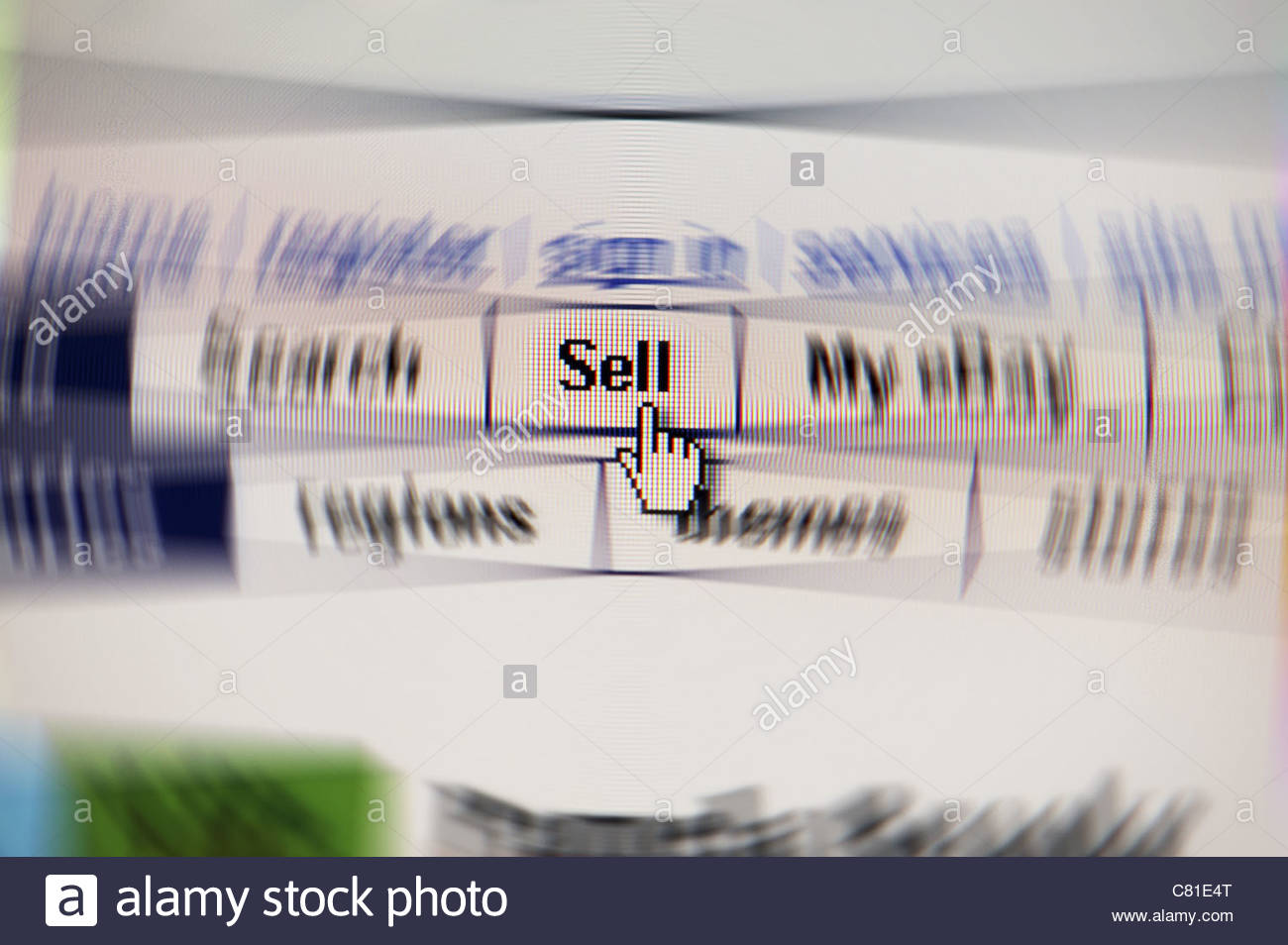 Sell on Computer Monitor - Stock Image