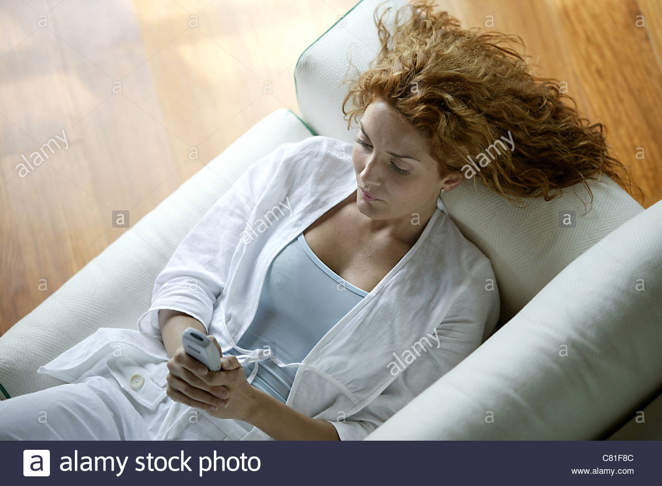 Woman texting - Stock Image
