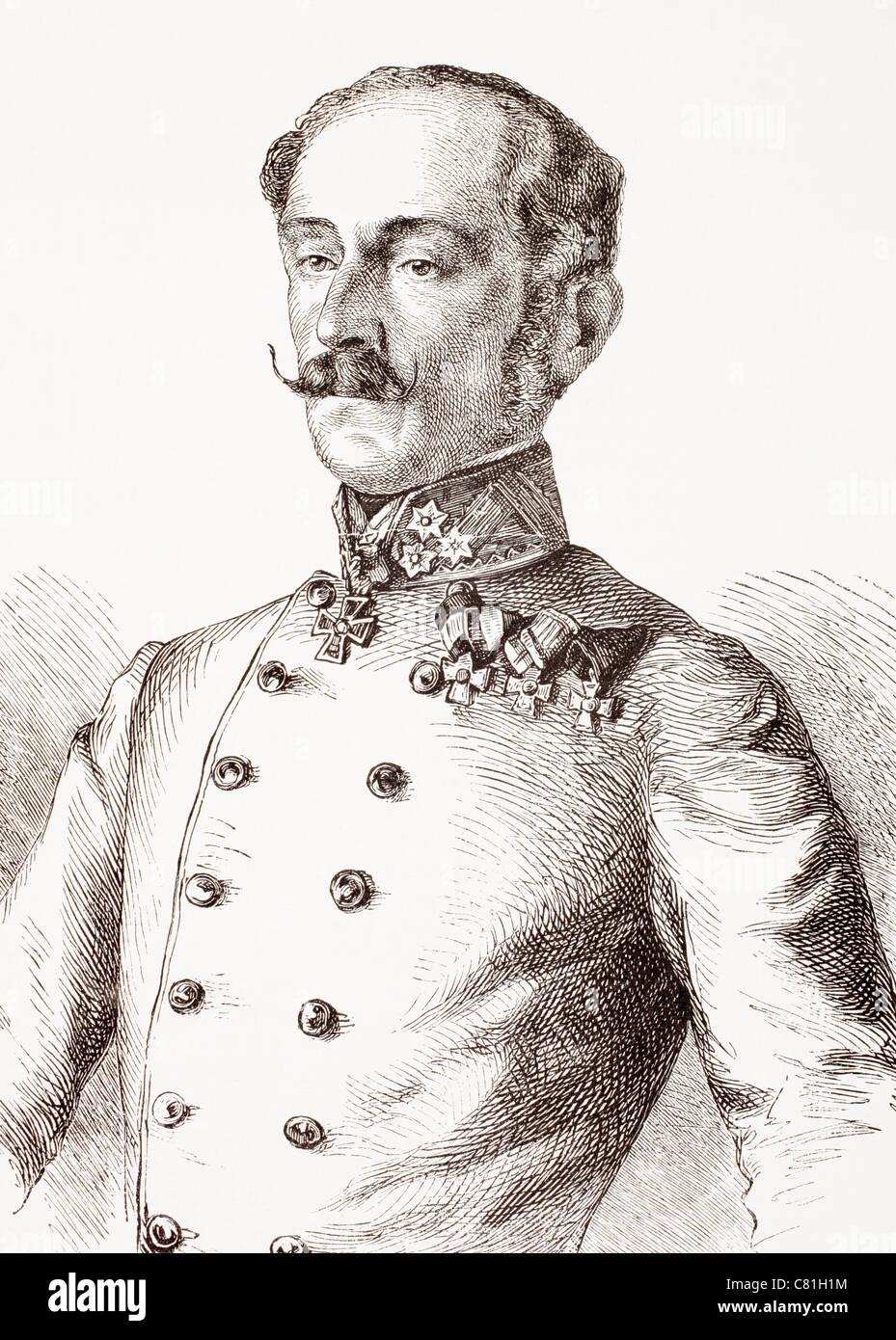 Ludwig August Ritter von Benedek, 1804 – 1881, aka Lajos Benedek. Austrian general of Hungarian descent. - Stock Image