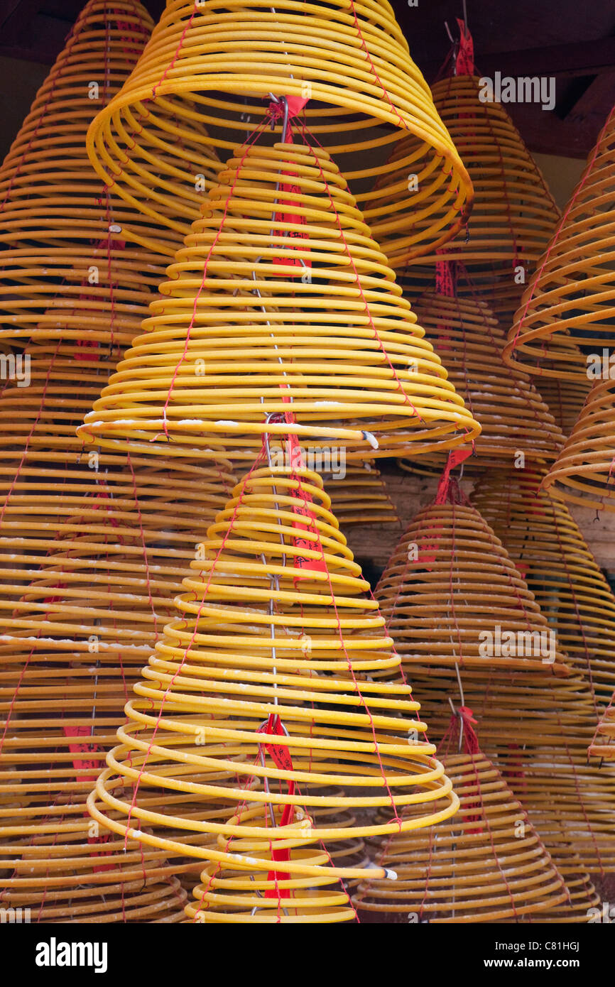 China, Macau, A-Ma Temple, Incense Coils - Stock Image