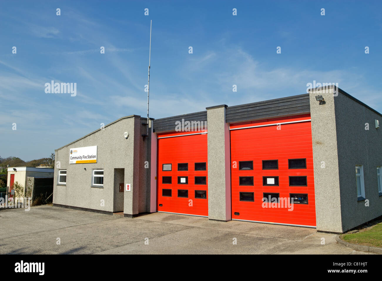 Mullion Community Fire Station in Cornwall England. - Stock Image