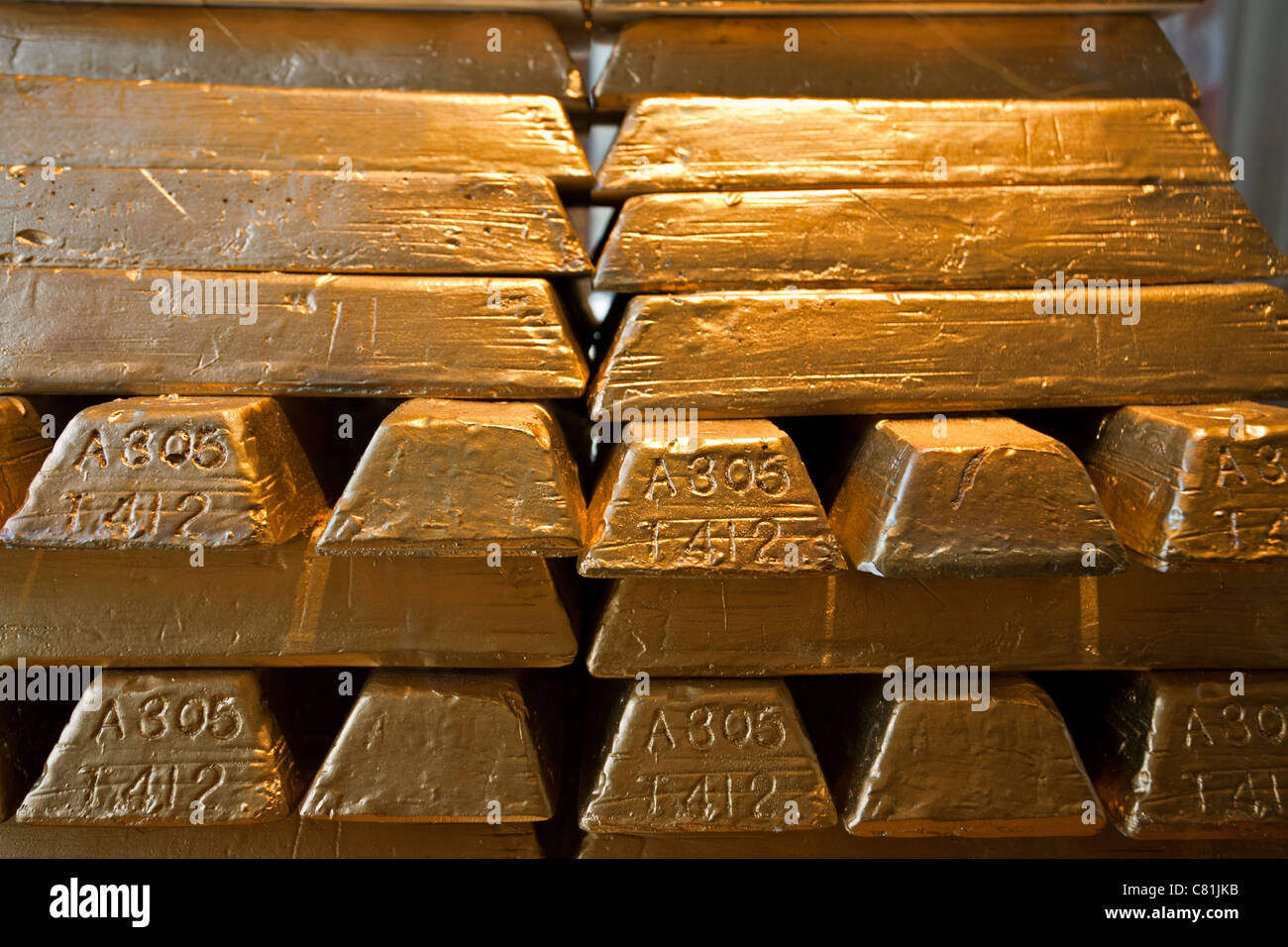 Gold ingots - Stock Image