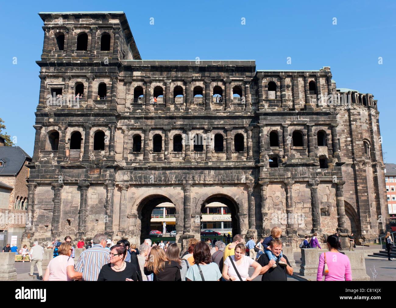 Roman monument Porta Nigra in Trier Rheinland-Palatinate Germany - Stock Image