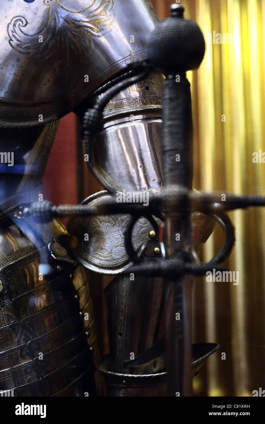 Mid section view of suit of armor, Hermitage Museum, St. Petersburg, Russia - Stock Image
