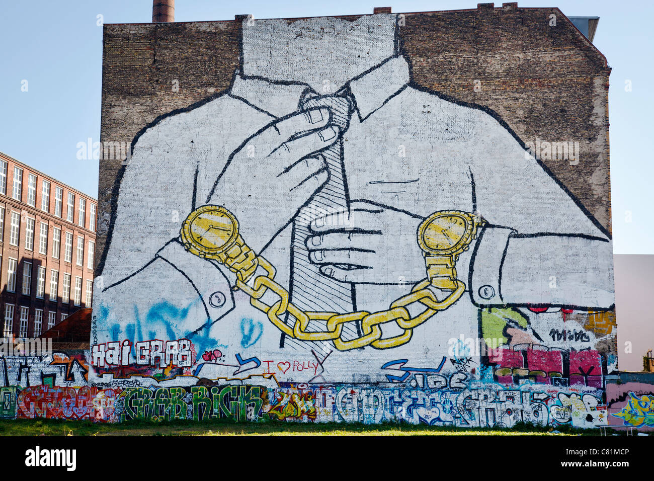 Graffiti by Blu in Cuvrystrasse, Berlin, Germany - Stock Image
