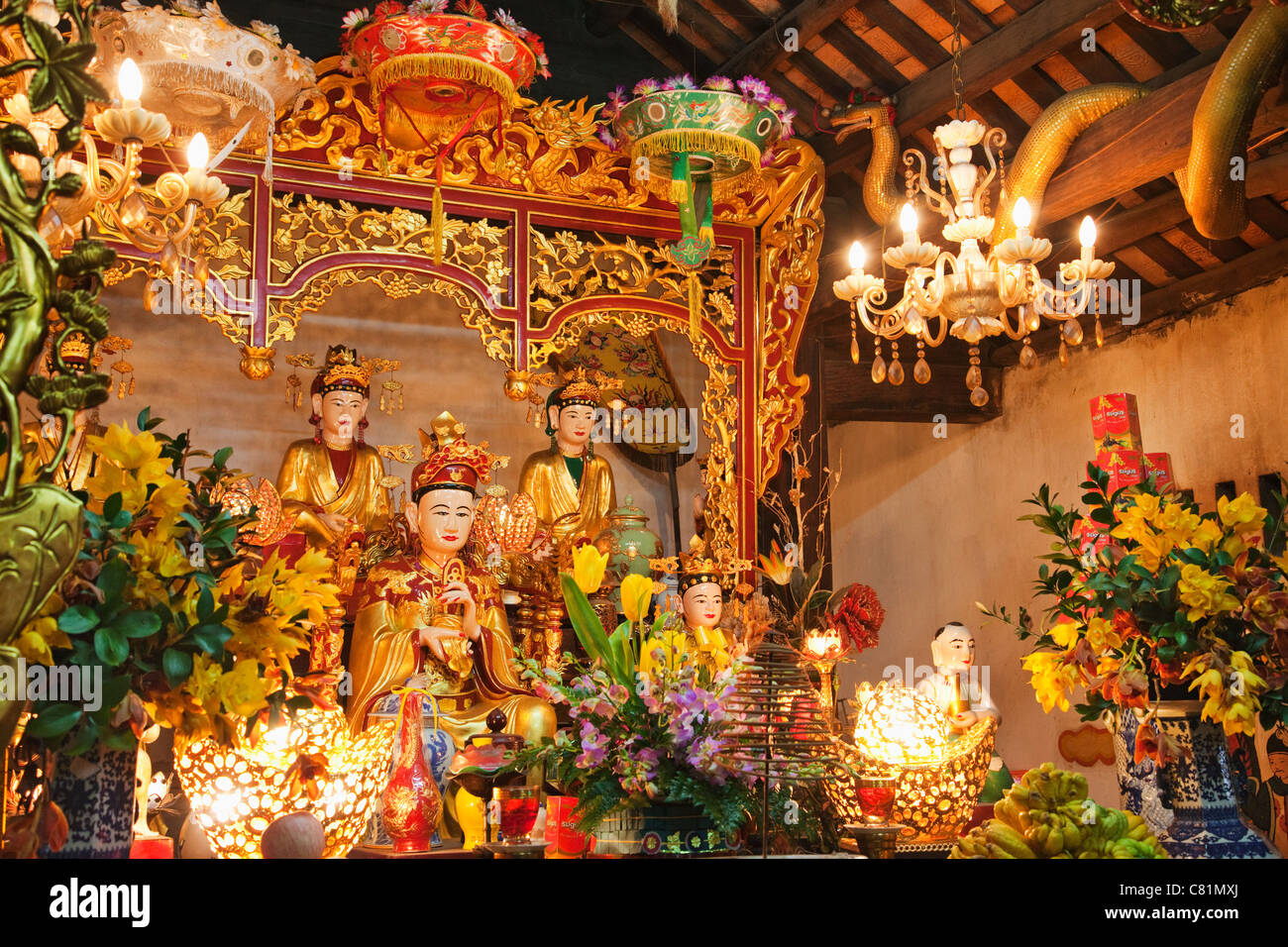 Vietnam, Hanoi, Interior of One Pillar Pagoda Temple showing Taoist Gods Stock Photo
