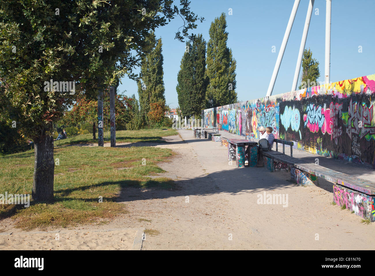 Mauer Park with section of Berlin Wall, Berlin, Germany - Stock Image