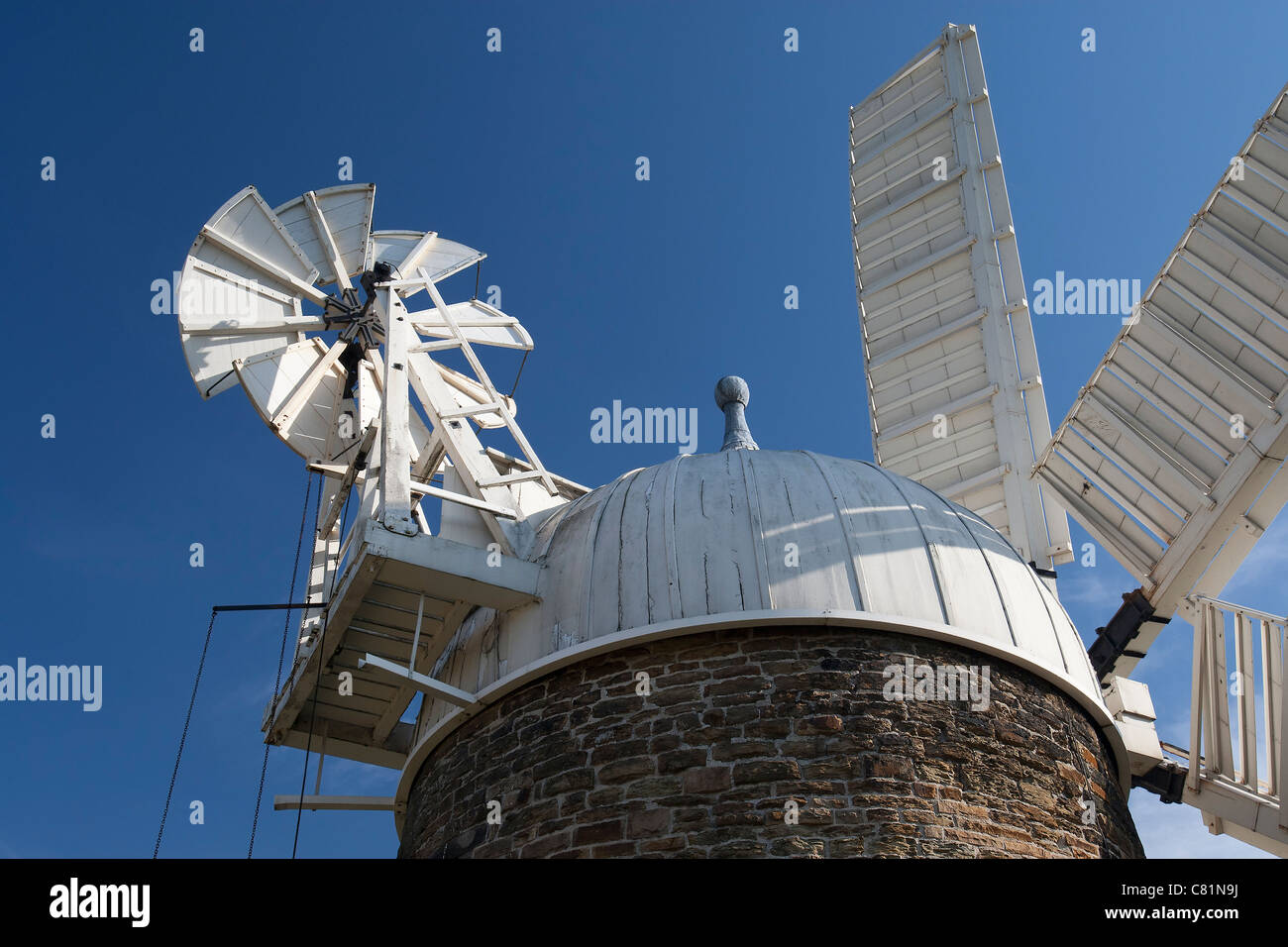 Windmill vane and sails from Heage Windmill, Derbyshire, England, the only working stone 6 sail windmill in the - Stock Image