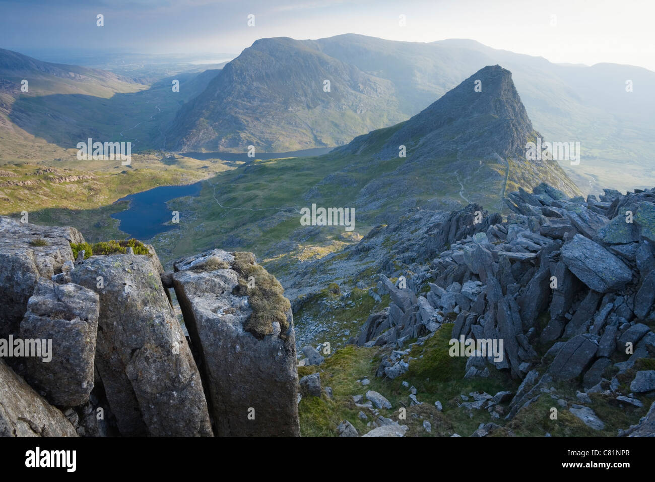 Tryfan and the Ogwen Valley from Glyder Fach. Snowdonia National Park. Conwy. Wales. - Stock Image