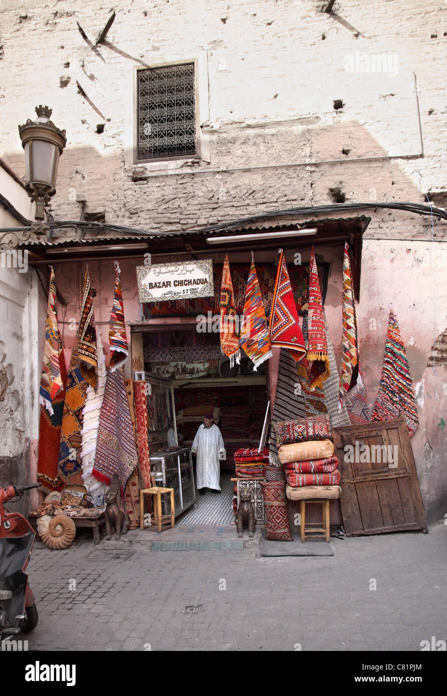 Marrakech Carpet Shop - Stock Image