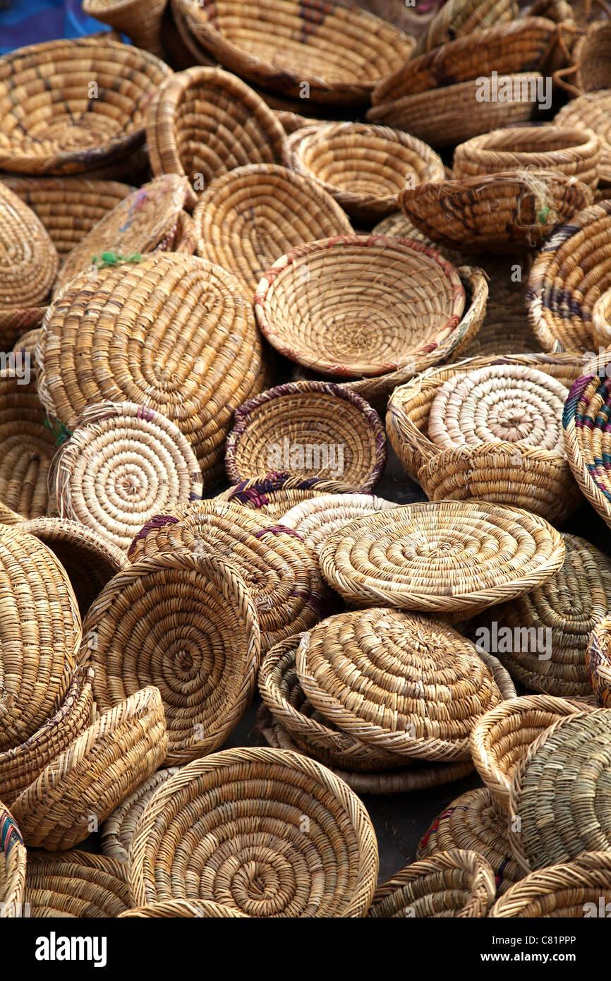 Moroccan basket weaving - Stock Image