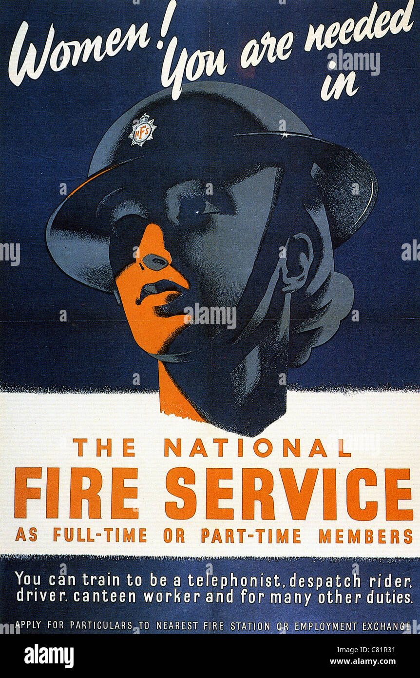 NATIONAL FIRE SERVICE  WW2 British recruitment poster - Stock Image