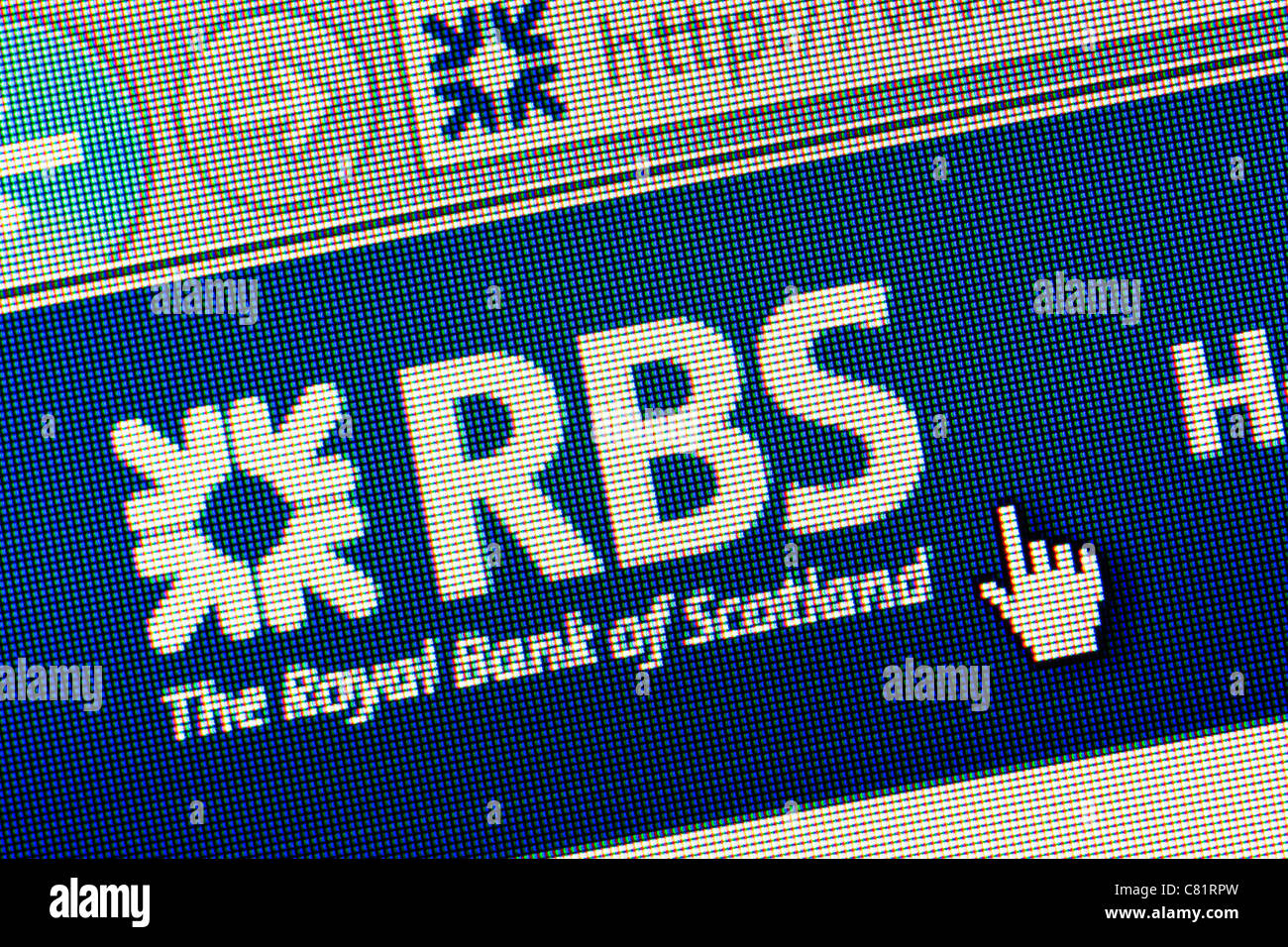 Royal Bank of Scotland RBS logo and website close up Stock Photo