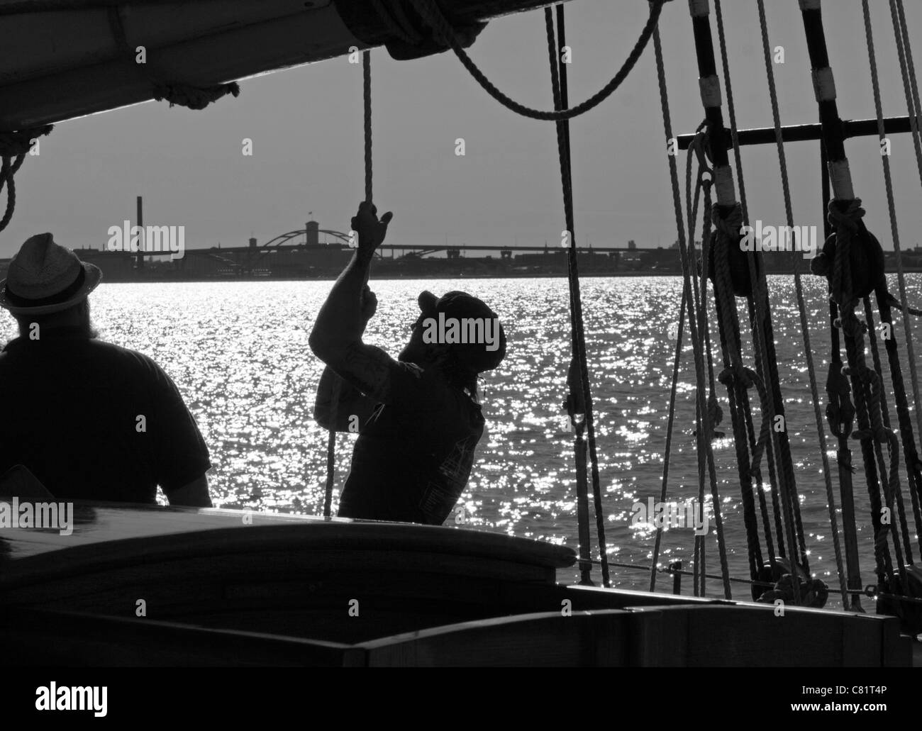 A crew member of the S/V Denis Sullivan pulls on a rope to help hoist a sail. - Stock Image