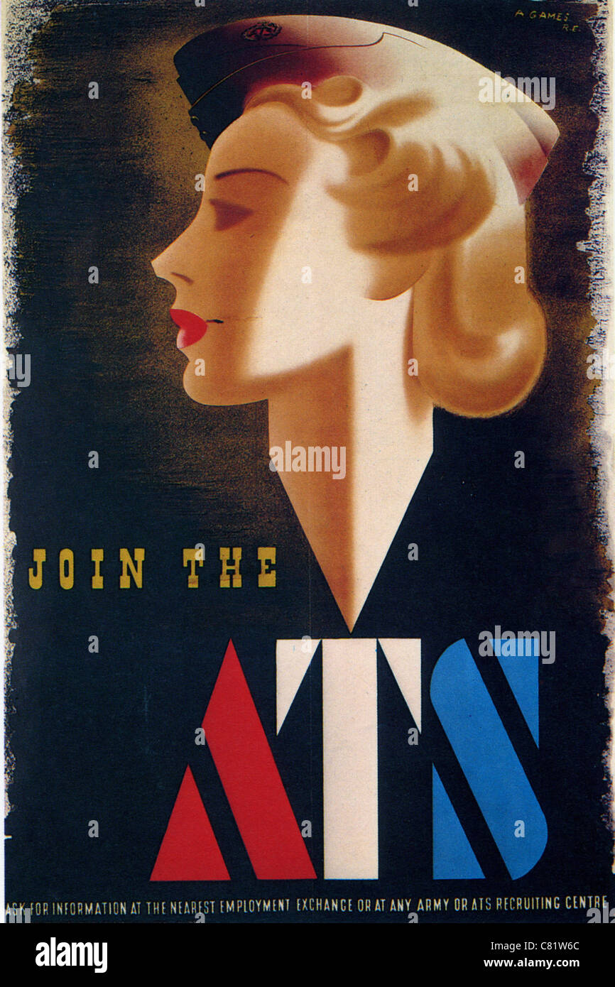 JOIN THE ATS  British WW2 poster for the Auxiliary Transport Service. See Description below - Stock Image