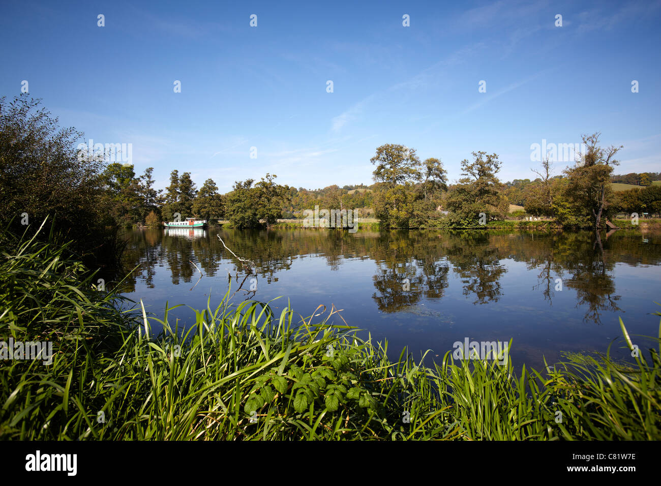 The barge Morgenster moored alongside the River Thames near to Pangbourne, Reading, Berkshire. - Stock Image